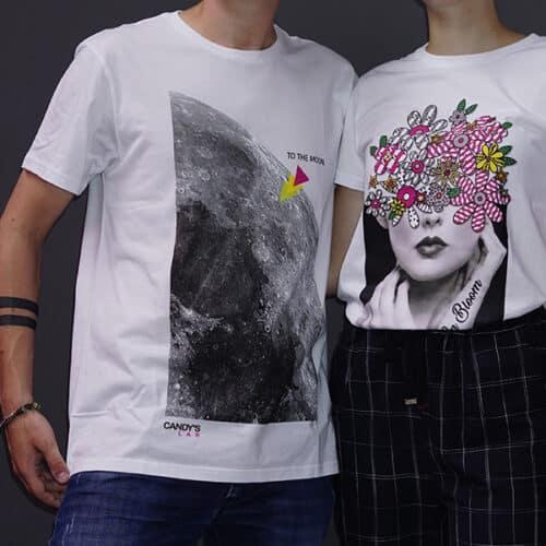 t-shirt moon+flower