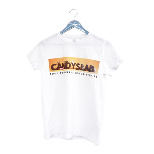 T-shirt bianca con stampa candyslab