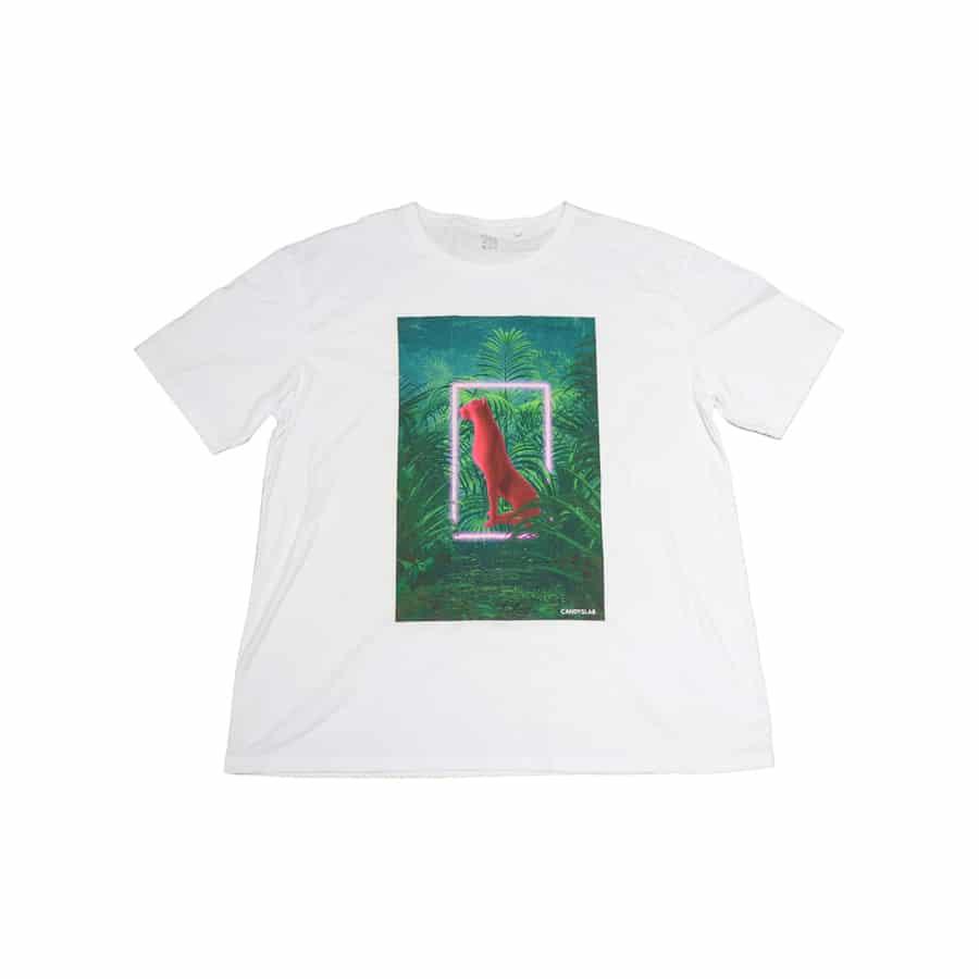Maglietta bianca con stampa pantera rosa