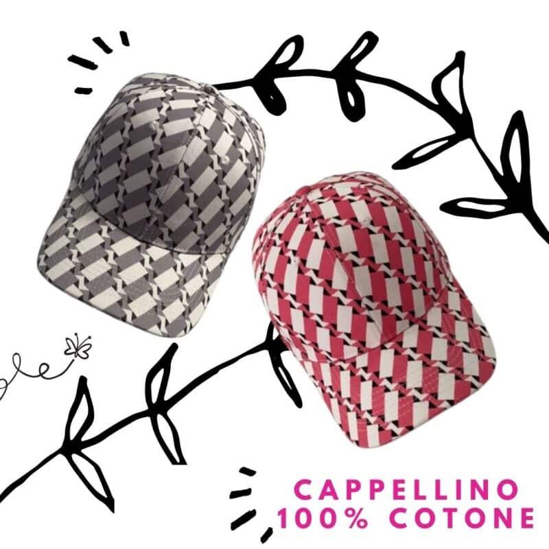 cappellini pattern grigio e pattern fucsia con visiera