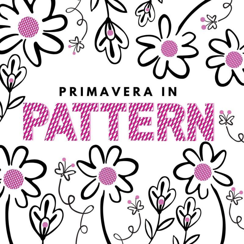 fiori e pattern fucsia con scritta primavera