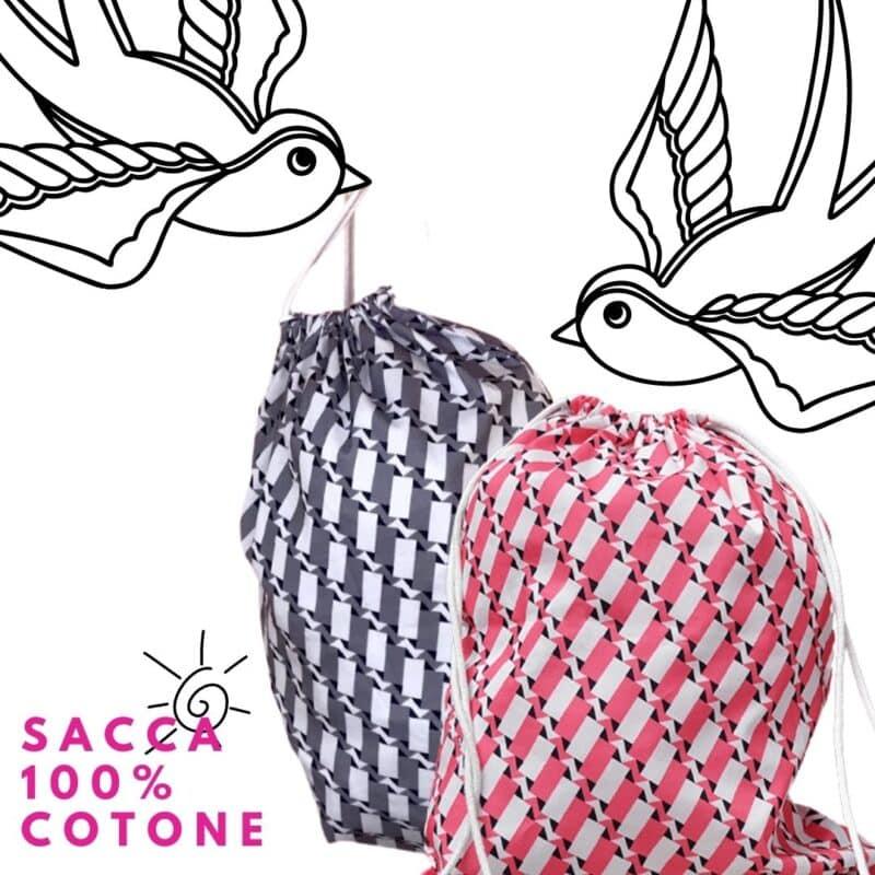 sacca zainetto 100% cotone con pattern fucsia e pattern grigio